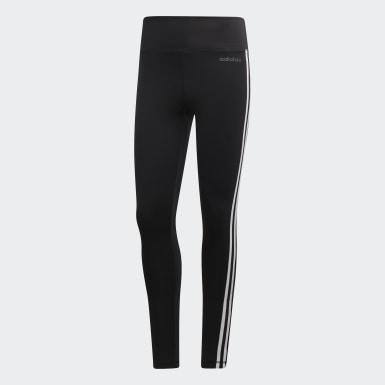 Calzas Largas con Cintura Alta Design 2 Move 3-Stripes Negro Mujer Yoga