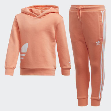 Kids Originals Orange Big Trefoil Hoodie Set