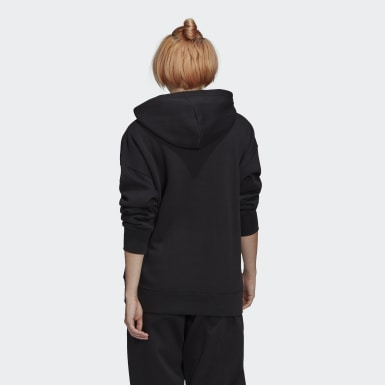 Women Originals Black Adicolor 3D Trefoil Half-Zip Hoodie