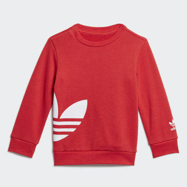 Kids Originals Red Big Trefoil Crew Set