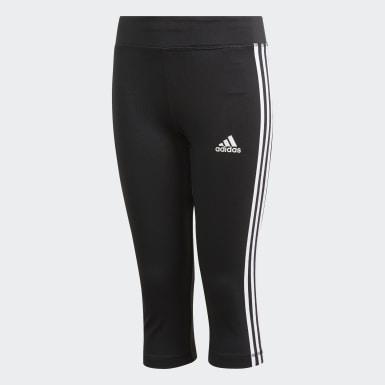 เด็ก โยคะ สีดำ กางเกงรัดรูปสามส่วน Equipment 3-Stripes