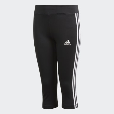 Youth 8-16 Years Yoga Black Equipment 3-Stripes 3/4 Leggings