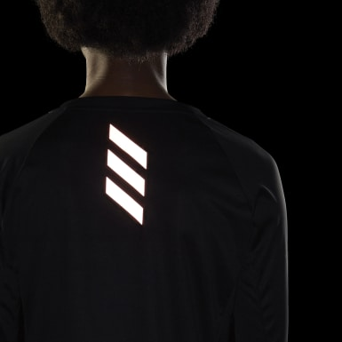 Women Running Black Reflective Long-Sleeve Top