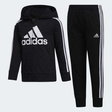 Children Training Black Essentials French Terry Hoodie and Joggers Set