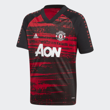 Maillot d'échauffement Manchester United Rouge Enfants Football