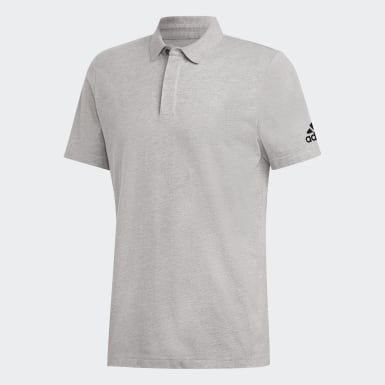 Men Sport Inspired Grey Must Haves Plain Polo Shirt