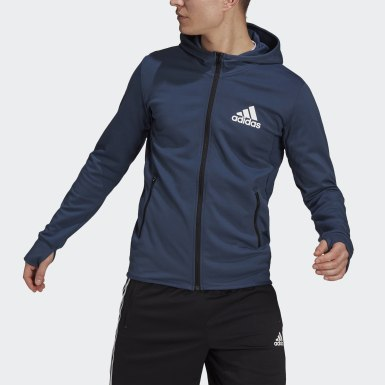 Men Training Blue adidas Designed To Move Motion Full-Zip AEROREADY Hoodie