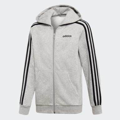 Kids Athletics Grey Essentials 3-Stripes Hoodie
