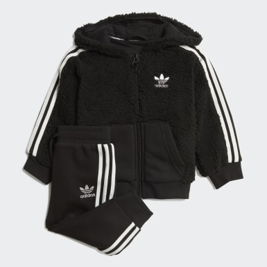 Conjunto chaqueta con capucha y pantalón Polar Fleece Negro Niño Originals