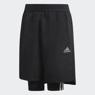 Shorts Fútbol Dos-en-Uno Negro Niño Training