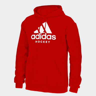 Men Hockey White Badge of Sport Hockey Hoodie