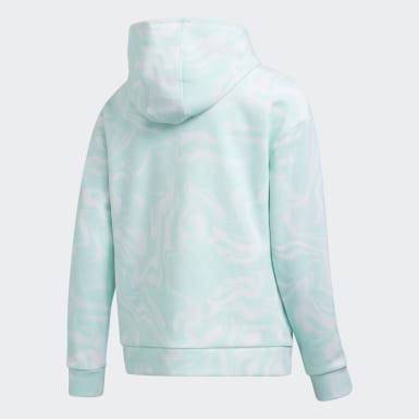 Youth Training Turquoise MARBLE PRNT HOOD PULLOVR