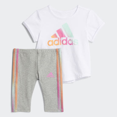 Infant & Toddler Training White IRID TEE - 3S CAPRI SET