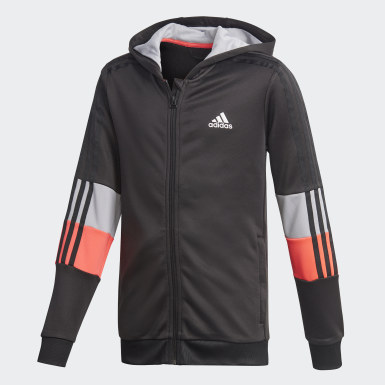 Boys Training Black Must Haves AEROREADY 3-Stripes Full-Zip Hoodie