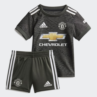 Barn Fotboll Grön Manchester United Away Baby Kit