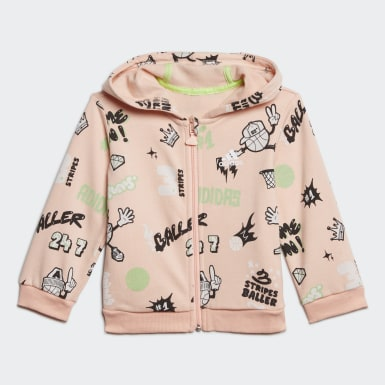 Girls Training Pink French Terry Graphic Tracksuit