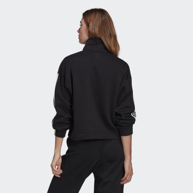 Felpa adicolor 3D Trefoil Fleece Half-Zip Nero Donna Originals