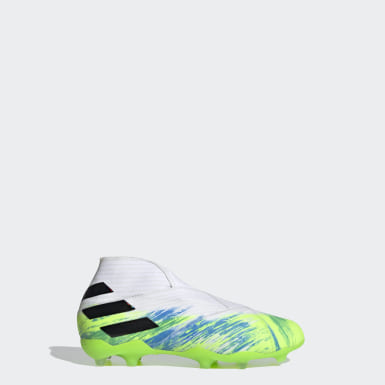 Kids Football White Nemeziz 19+ Firm Ground Boots