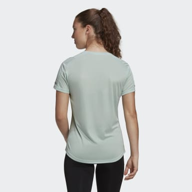 Women Running Green 3-Stripes Run Tee