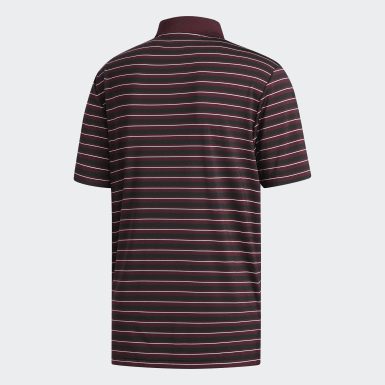 Men's Golf Burgundy Ultimate365 3-Color Stripe Polo