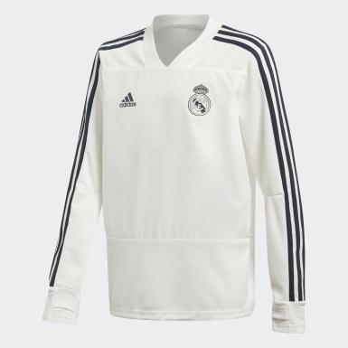 Sudadera entrenamiento Real Madrid Blanco Niño Fútbol