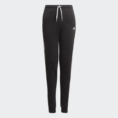 Mädchen Athletics adidas Essentials 3-Streifen French Terry Hose Schwarz