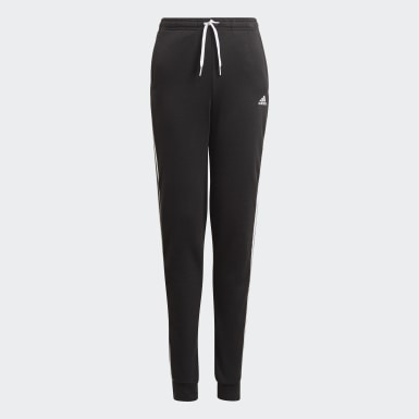 Girls Sport Inspired Black adidas Essentials 3-Stripes French Terry Pants