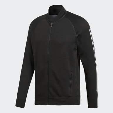 Men Athletics Black ID Knit Bomber Jacket
