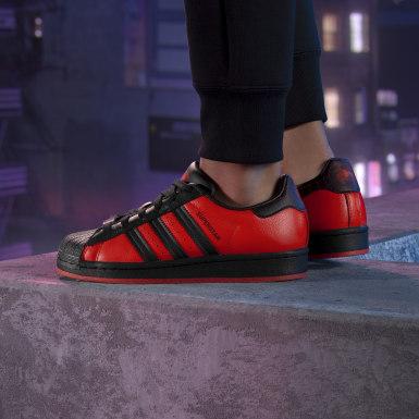 Kids Originals Black Superstar Spiderman Shoes