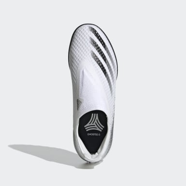 Kids Football White X Ghosted.3 Laceless Turf Boots