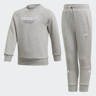 Kids Originals Grey Adicolor Crew Set