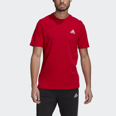 Men Sport Inspired Red Essentials Embroidered Small Logo Tee