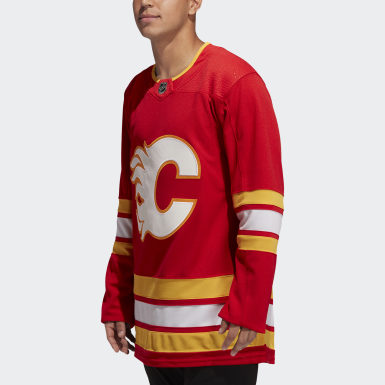 Men Hockey Red Flames Home Authentic Pro Jersey
