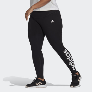 Women's Essentials Black Essentials High-Waisted Logo Leggings (Plus Size)