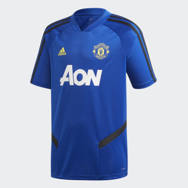 Kinder Fußball Manchester United Trainingstrikot Blau