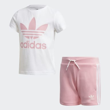 Kids Originals White Trefoil Shorts Tee Set