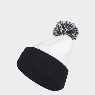 Men's Training White Cuffed Knit Pom Beanie