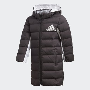 Kids Training Black Long Down Jacket