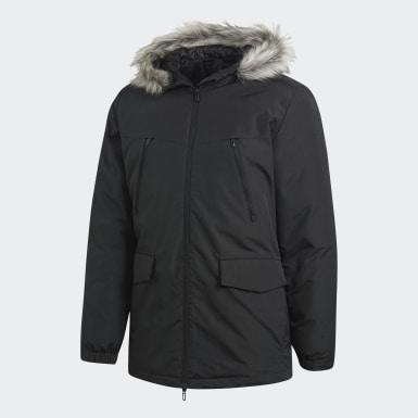 Muži Městský Outdoor černá Bunda Faux Fur Padded