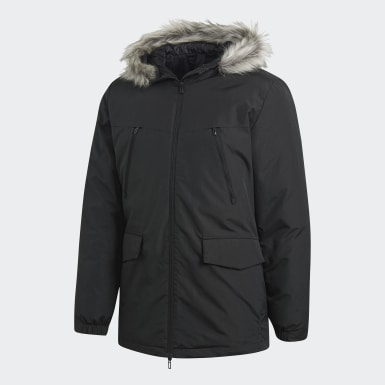 Men City Outdoor Black Faux Fur Padded Jacket
