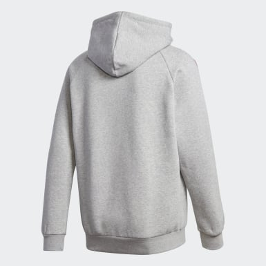 Men Originals Grey Adicolor 3D Trefoil 3-Stripes Hoodie
