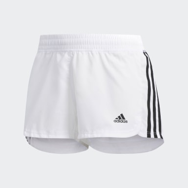 Women's Training White Pacer 3-Stripes Woven Shorts