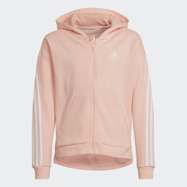 Girls Training Pink 3-Stripes Full-Zip Hoodie