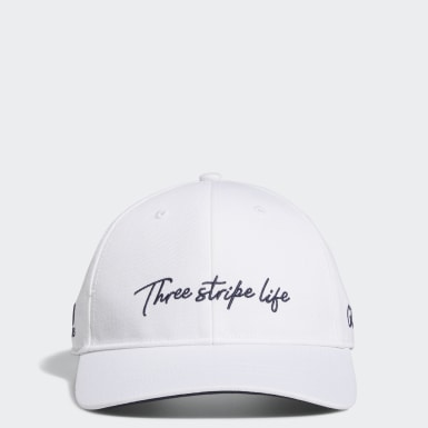 Men Golf White 3-Stripe Life Cap