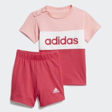 Conjunto camiseta y pantalón corto Colorblock Rosa Niño Athletics