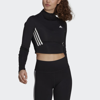 T-shirt Long Sleeve Crop Noir Femmes Studio