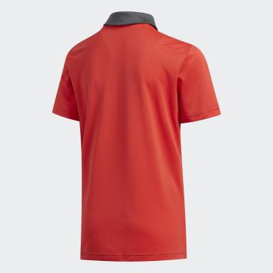 Boys Golf Red Engineered Stripe Polo Shirt
