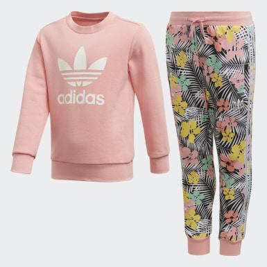 เด็ก Originals สีชมพู ชุดเสื้อกันหนาวคอกลมและกางเกงขายาว