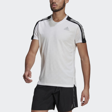 Men Running White Own The Run 3-Stripes Running Tee