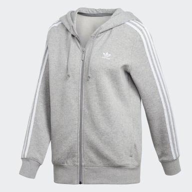 серый Худи 3-Stripes Zip